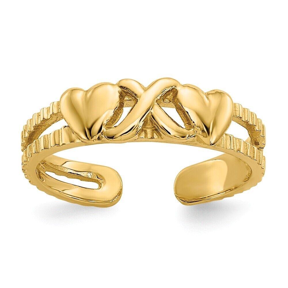 14k Love W//Hearts Toe Ring