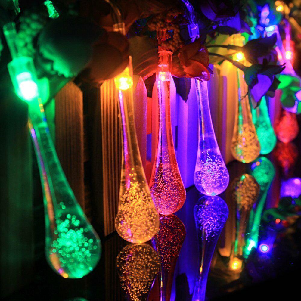 30 LED Solar Wassertropf Lichterkette Solarleucht Party Garten Außen Beleuchtung