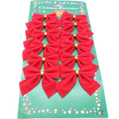 12pcs Christmas Tree Bows DIY Hanging for Xmas Tree Bowknot Pendants Ornaments D](Diy Ornaments For Christmas)