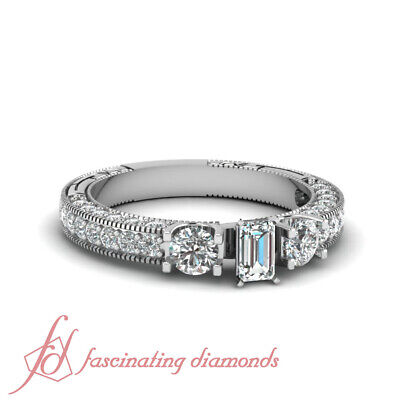 1.55 Ct Emerald Cut Diamond Flywheel Elegance Engagement Ring Pave Set VVS2 GIA