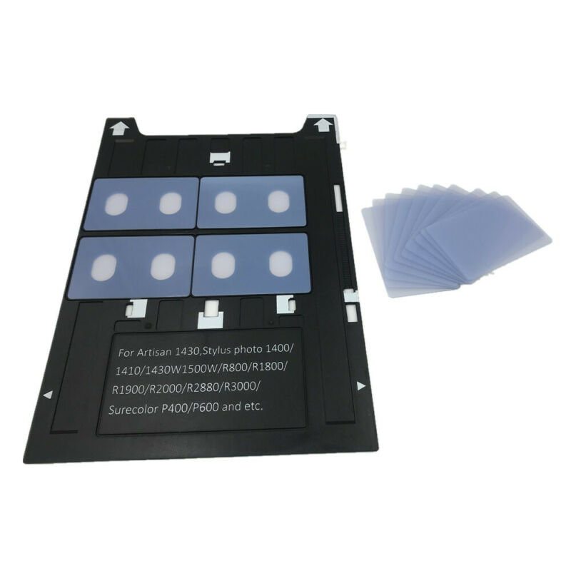 50X Transparent PVC Card Name Card CR80 30mil+1X Card Tray for Epson