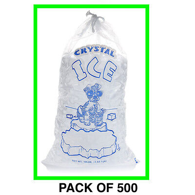 Crystal Clear Commercial Ice Bags with Drawstring 500 Pack (10 lb), Extra STRONG for sale  Pearland