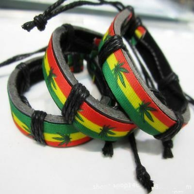 Wrap Design Pot Leather Leaf Raggae Weed Rasta Bangle Bracelet