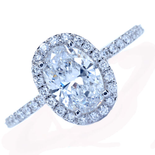 GIA Certified Oval Shape Halo Style Diamond Engagement Ring 3.10 carat 18k Wh...