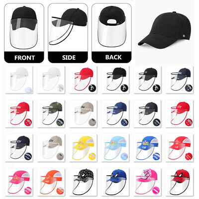 Removable Full Face Safety Shield Anti-Spitting Hat Baseball Cap for Adults Kids