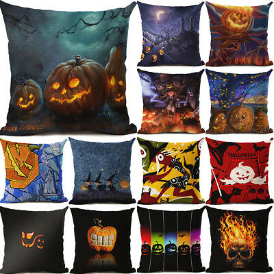 18'' Halloween's pumpkin Pillow Case Cotton Linen Cushion Cover Home - 18+ Halloween