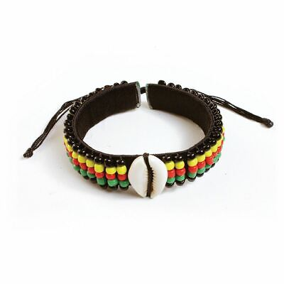"Rasta Bead Cowrie Shell Bracelet | Adjustable Hand Band up to a 12"" wrist."