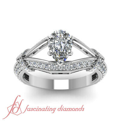 Split Shank Round Diamond Engagement Ring With Pear Shaped In Center GIA 1.20 Ct 1
