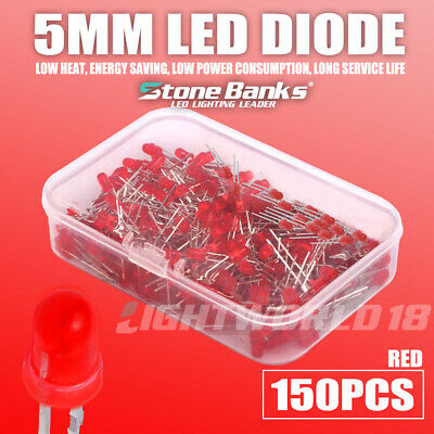 150pc 5mm 2pin Red Led Light Emitting Diode Electronic Diy Model Assorted Kit F5