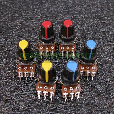 6x 10k Ohm Linear Taper Dual Gang Rotary Potentiometers B10k Black Knob 6pcs U37