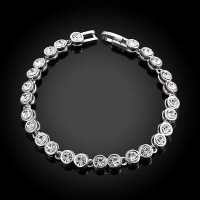 "White Gold Plated Crystal Accent Tennis Link Bracelet 0.25 Ct H-I I3 7"""