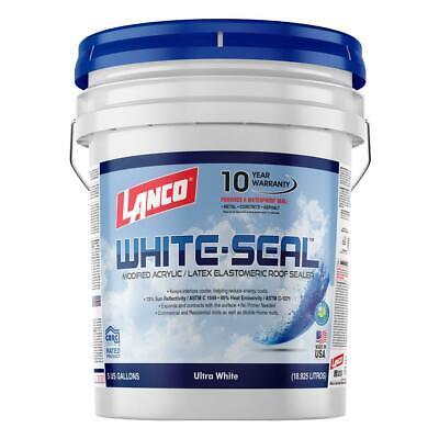 Lanco 5 Gallon White Seal Elastomeric Roof Coating Waterproof Rubberized Surface