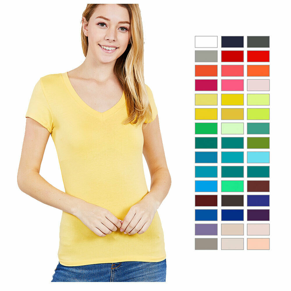 Women V Neck Crew T Shirt Short Sleeve Solid Fitted Stretchy