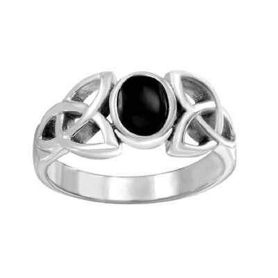 Celtic Trinity Knot Ring (Sterling Silver Celtic Knot Trinity Triquetra Ring w/ Black Onyx)