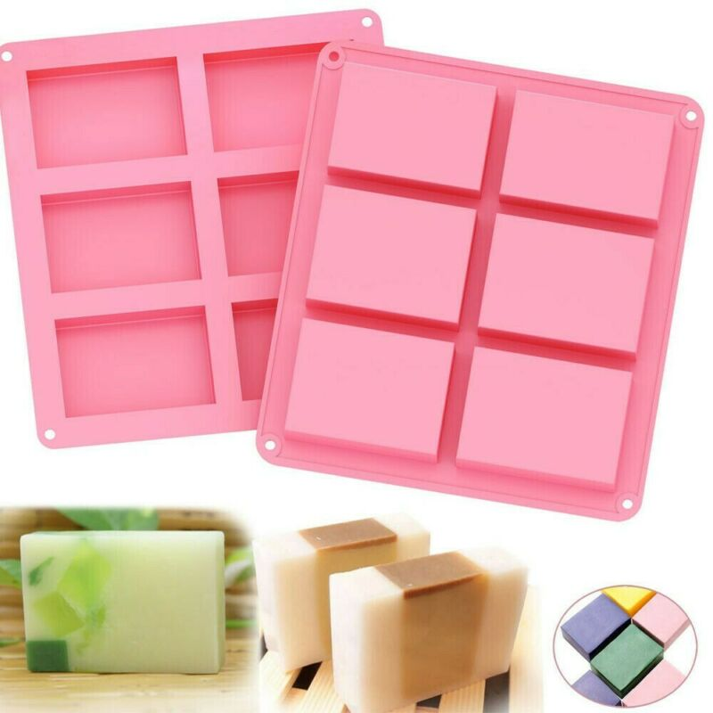 2 Pack Silicone Soap Molds 6 Cavities Soap Baking Cake Mold for DIY Soap Gift