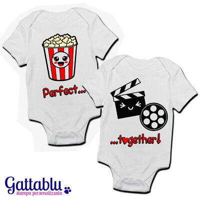 Coppia body pagliaccetti neonati bimbi Perfect Together pop corn e film kawaii!