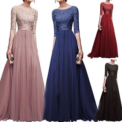Women's Long Chiffon Lace Evening Formal Party Ball Gown Prom Bridesmaid Dress Chiffon Formal Evening Dress