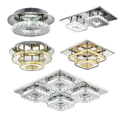 Modern Crystal Ceiling Light LED Pendant Lamp Flush Mount Chandelier Fixtures Modern Crystal Flush
