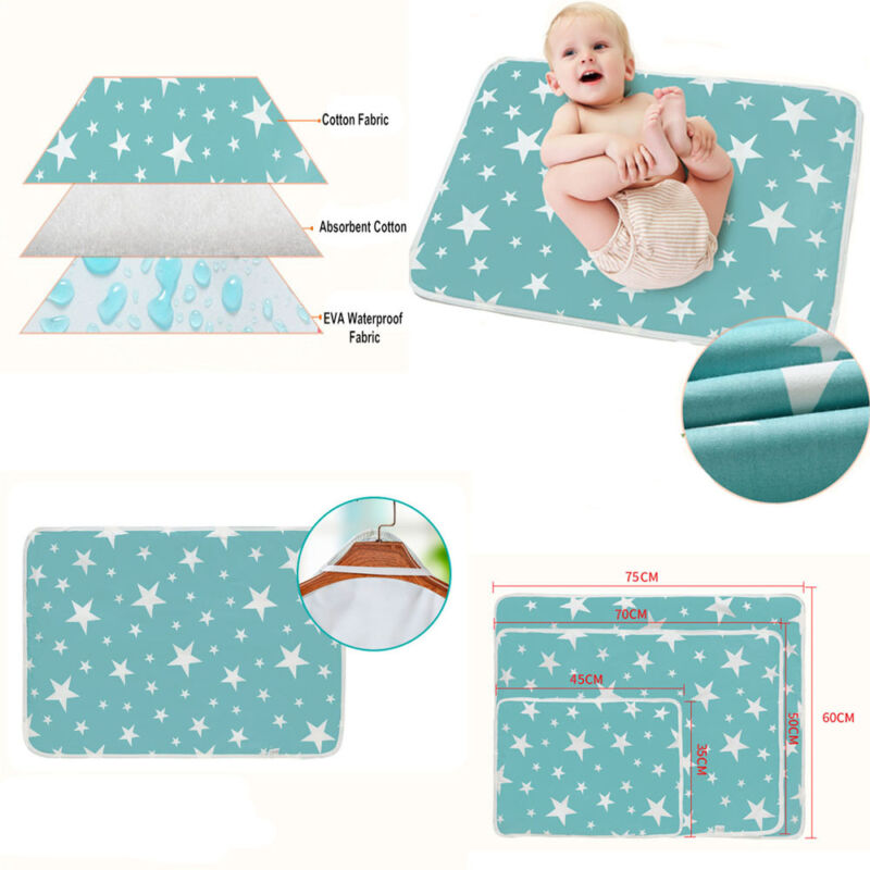 931e8d721c7 Newborn Baby Changing Pad Infant Cotton Nappy Cover Toddler Waterproof  Urine Mat ...