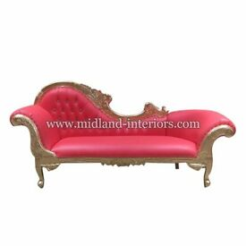 NEW Paris Chaise Longue French Sofa - Gold & Red - Luxury Asian Wedding Gilded Gothic Antique Chic