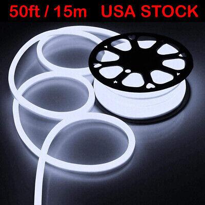 50ft SMD2835 White Vibe LED Neon Rope Light Flex Tube Waterp