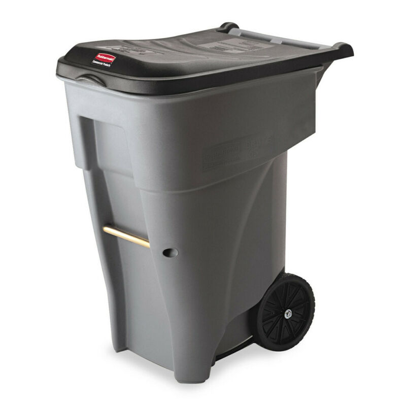 Rubbermaid Brute Rollout HD Waste Container Polyethylene 65gal Gray 9W21GY NEW