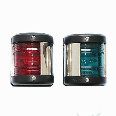 Pair of Marine Boat Yacht Navigation LED Lights 12V Bow Stainless Steel Housing