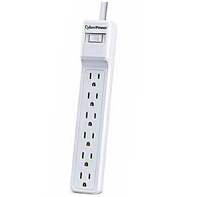 CyberPower 6 Outlet 500 Joules Surge Protector with 2ft. Cable   White