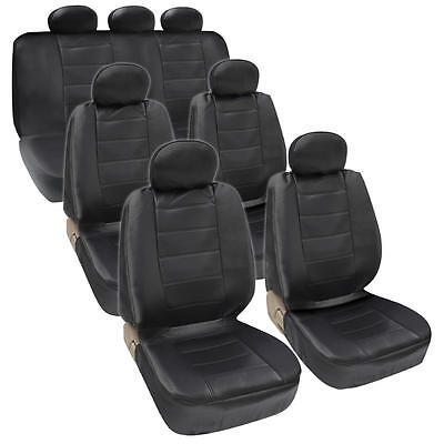 Van SUV Seat Covers 3 Row PU Leather Side ArmRest & Airbag Compatible Black