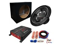 Pioneer 12 inch Single Car Subwoofer Bass Speaker Box Enclosure 1400w Package Amplifier Wiring Kit