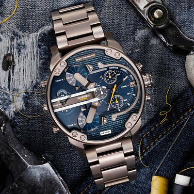 DIESEL Mr. Daddy 2.0 DZ7331 Gunmetal Blue Denim Wrist Watch for Men