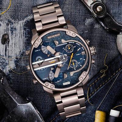 New Diesel Mr  Daddy 2 0 Dz7331 Gunmetal Blue Denim Stainless Steel Mens Watch