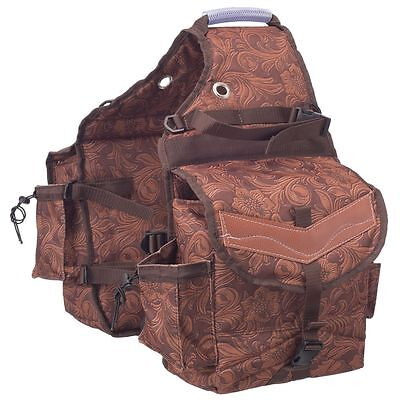 Tough-1 Multi-Pocket Insulated Nylon Saddle Bag Tooled Leather Print Brown