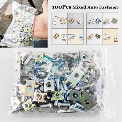 Car Parts - 100pcs Car Door Trim Panel Secure Fastener Fixed Screw U Type Gasket Clips Parts