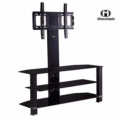 "Tempered Glass Black TV Stand Console Media 32""-55"" with Bracket Plasma LCD TV"