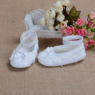 New Baby Girls White Rose Christening Party Shoes 12-15 Months