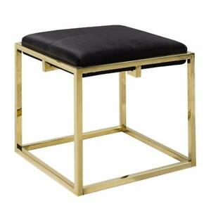 BEST DESIGN OF XC15 100715 - MITTIE BLACK VELVET GOLD OTTOMAN (BF-218)