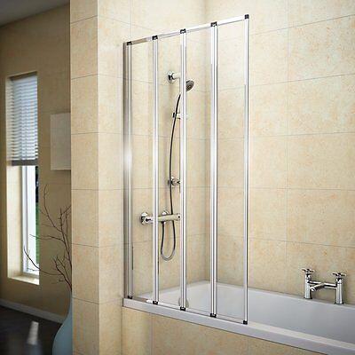 VeeBath Jade 4 Fold Folding Shower Bath Screen Chrome Frame Clear Glass Panel