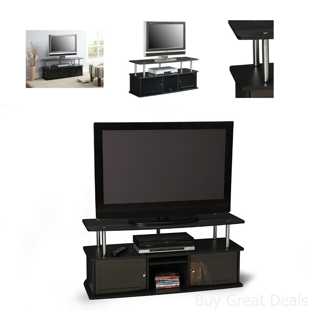 Small TV Stand Entertainment Center For Flat Screens Media Storage Shelf Wooden