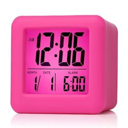 Plumeet Easy Setting Digital Travel Alarm Clock with Snooze Hot Pink Soft Touch