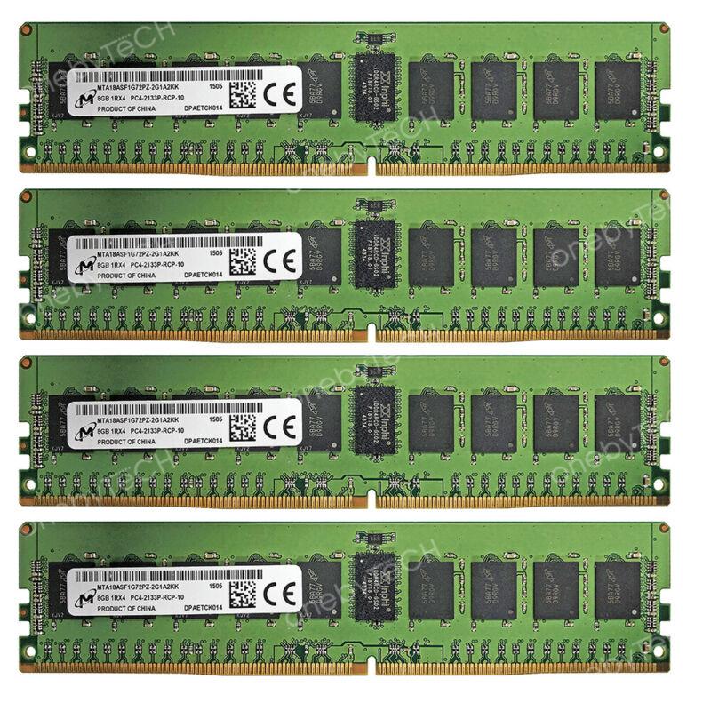 Micron 32GB 4x8GB 1Rx4 PC4-17000 DDR4 2133 MHz 288-pin ECC Registered RDIMM RAM