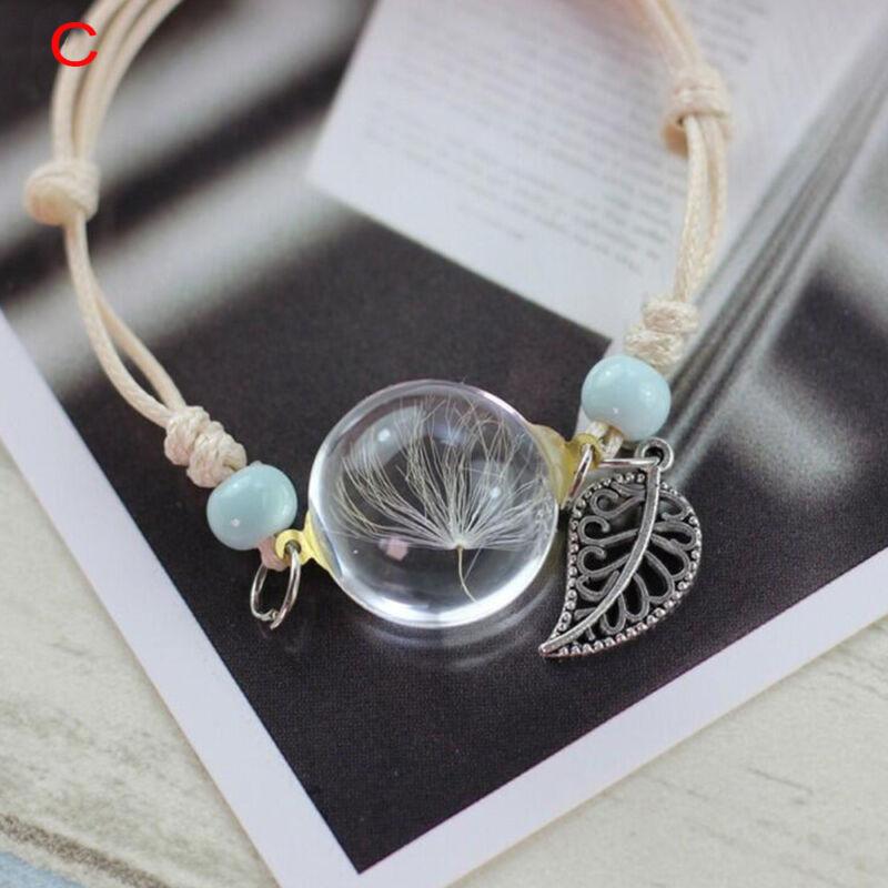 Lucky Dry Flower Glas Ball Weave Grass verstellbare Armbänder Armreif
