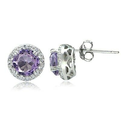 Sterling Silver 2.5ct Amethyst & White Topaz Halo Stud Earrings