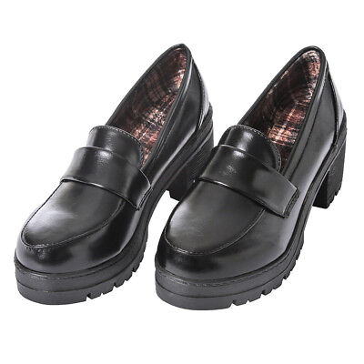 Japanese JK School Block High Heel Shoes Womens Universal Maid Cosplay Shoes (Maid Shoes)