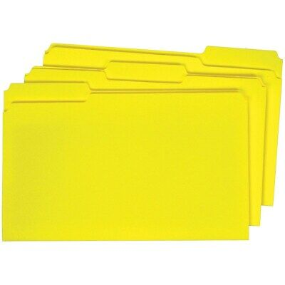 Staples Colored Top-tab File Folders 3 Tab Yellow Legal Size 100pack 224576