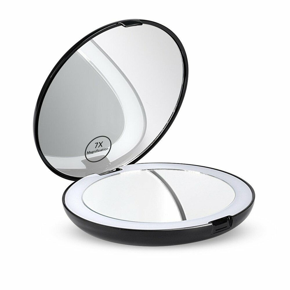 7x Makeup Cosmetic Folding Portable Compact Pocket Mirror with LED Lights Lamps Health & Beauty