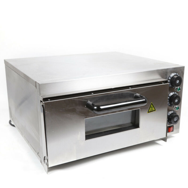 Used Single Deck Electric 2KW Pizza Oven Ceramic Stone Toaster Baking Bread 110V