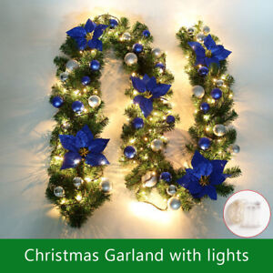 Ft Christmas Garland W  Led Lights Pine Cones Outdoor Decor Green