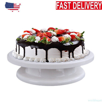 360° Rotating Revolving Cake Turn table Plate Display Stand Decorating Supplies - Cake Table