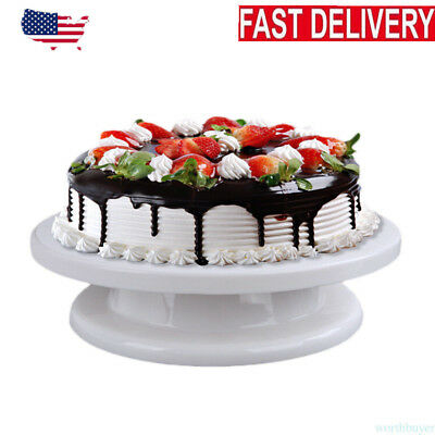 360° Rotating Revolving Cake Turn table Plate Display Stand Decorating Supplies - Plastic Cake Display